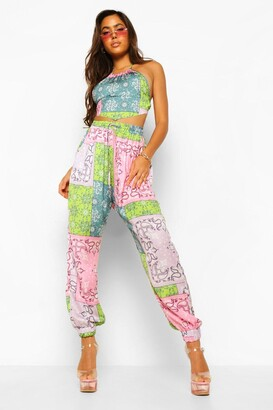 boohoo Patchwork Paisley Woven Joggers