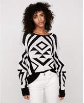 Express hi-lo geometric print wedge sweater