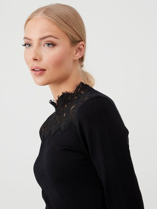 Warehouse Lace High Neck Fit & Flare Knitted Dress - Black