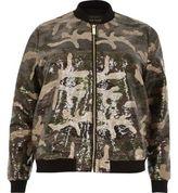 River Island Womens Plus khaki sequin camo bomber jacket