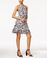 MSK Floral-Print Ruffle Halter Dress
