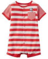 Carter's Boy's Short Sleeve Dog Striped Romper in Red