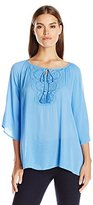 Notations Women's Solid 3/4 Sleeve Raglan Peasant Top with Crochet