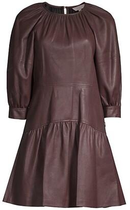 Rebecca Taylor Vegan Leather Three-Quarter Sleeve Dress