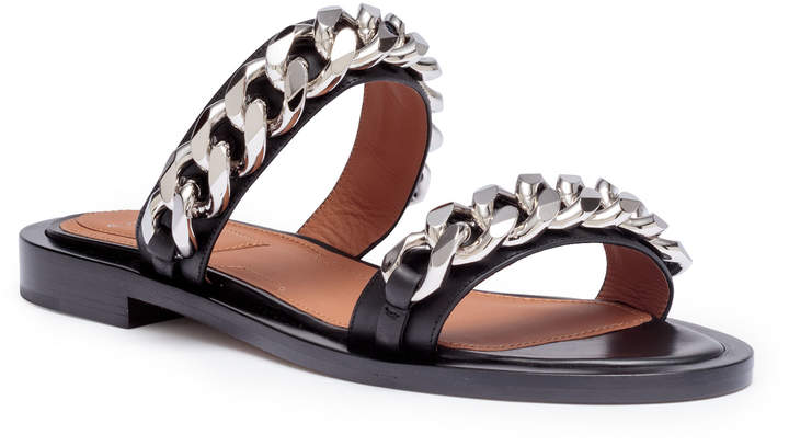 Givenchy Black leather 2 chain flat sandals
