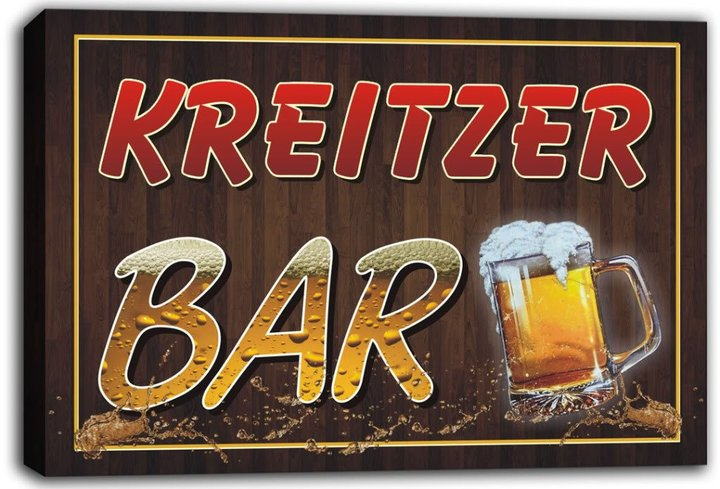 AdvPro Canvas scw3-017862 KREITZER Name Home Bar Beer Mugs Stretched Canvas Print Sign