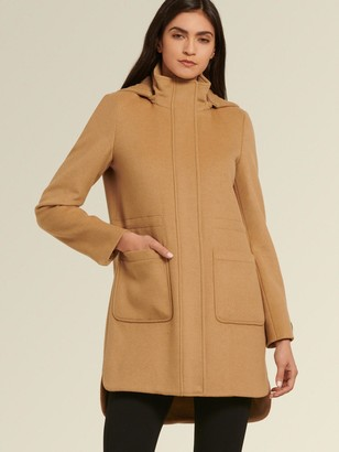 DKNY Donna Karan Women's Cashmere Blend Wool Coat With Hood - Beige - Size 0