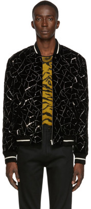 Saint Laurent Black Teddy Tangle Silver Bomber Jacket