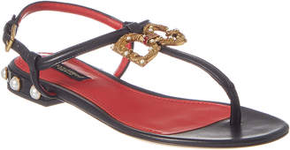Dolce & Gabbana Logo Leather Sandal