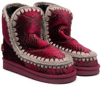 Mou Kids Eskimo snakeskin-print boots