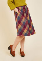 Sunday Sojourn Midi Skirt in Warm Plaid in XS