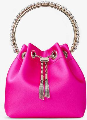 Jimmy Choo Bon Bon crystal-embellished satin top-handle bag