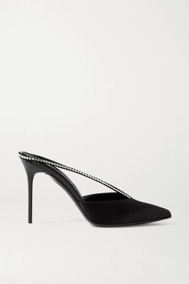 Balmain Crystal-embellished Satin Mules - Black