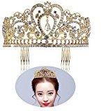 PIXNOR Wedding Bridal Tiara with Comb Rhinestone Crystal Bridal Wedding Tiara Headband Gold
