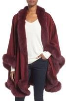Sofia Cashmere Genuine Fox Fur Trim Cape