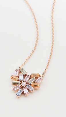 Suzanne Kalan 18k Rose Gold Pastel Fireworks Small Heart Necklace
