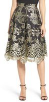 Eliza J Embroidered Mesh Midi Skirt