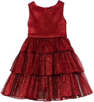 Oscar de la Renta Metallic Chiffon Silk-Blend Dress