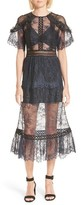 Self-Portrait Women's Frilled Lace Midi Dress