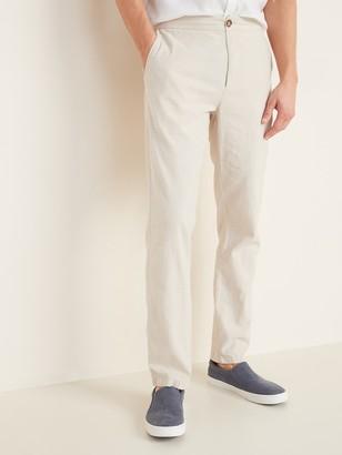 Old Navy Slim Built-In Flex Linen-Blend Interior Drawstring Pants for Men