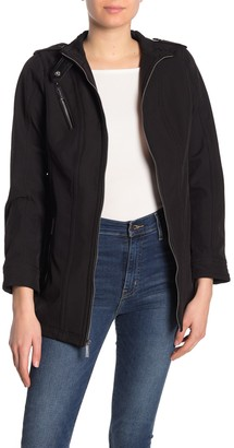 MICHAEL Michael Kors Missy Faux Leather Trim Belted Jacket