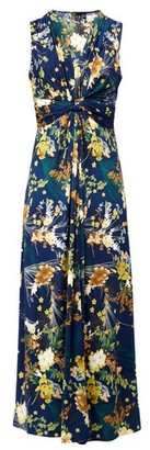 Dorothy Perkins Womens Izabel London Navy Floral Print Twist Knot Maxi Dress