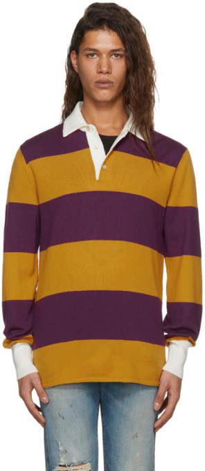 Gucci Purple and Orange Long Sleeve Striped Zest Polo