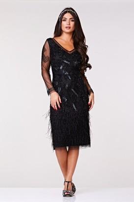 Iclothing Gatsbylady London Ivy Midi Feather Dress in Black