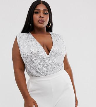Club L London Plus plisse sequin wrap front bodysuit-Silver