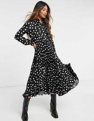 Closet London long sleeve shirt dress in black polka dot
