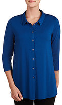 Peter Nygard Petite Button Front Point Collar Tunic