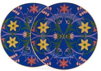 La DoubleJ Stella Alpina-print Porcelain Dinner Plate Set - Womens - Blue