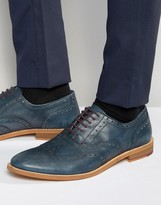 Dune Oxford Wing Tip Brogues Navy Leather