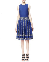 Alexander McQueen Snake-Print-Stripe Full Dress