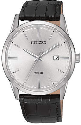 Citizen Quartz Men'S Silver Tone And Black Stainless Steel Leather Strap Watch Bi5000-01A Family