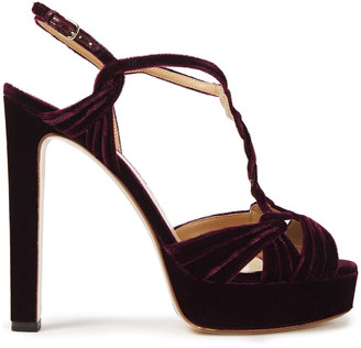 Francesco Russo Braided Velvet Platform Sandals