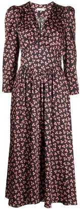 Sandro Floral Print Midi Dress