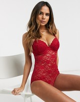 Thumbnail for your product : Pour Moi? Pour Moi Rebel lace underwired bodysuit in red