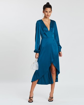 Missguided Balloon Sleeve Plunge Wrap Dress