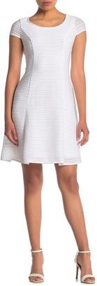 London Times Short Sleeve Textured Knit Flare Dress (Petite)