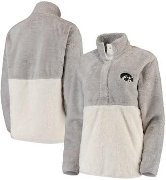 Women's Gray/Cream Iowa Hawkeyes Fuzzy Fleece Colorblocked Four-Snap Pullover Jacket