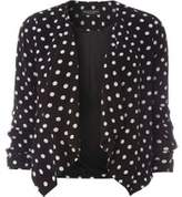 Dorothy Perkins Womens Spotted Crepe Waterfall Jacket- Black