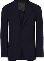 Camoshita Blue Slim-Fit Checked Wool-Seersucker Blazer