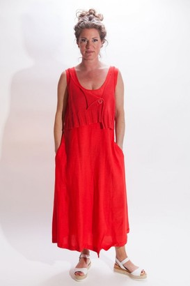 Crea Concept Knit Top Dress In Red - 12