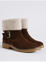 M&S Collection Wide Fit Suede Faux Fur Ankle Boots