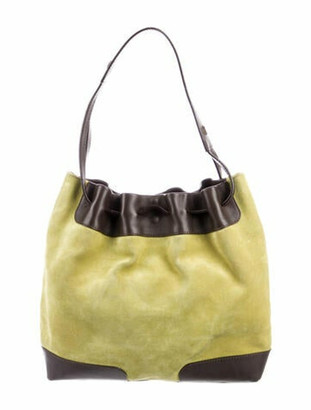 Burberry Leather-Trimmed Suede Hobo Green