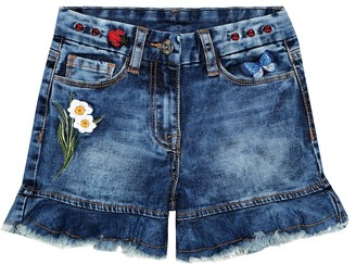 MonnaLisa Cotton-blend denim shorts