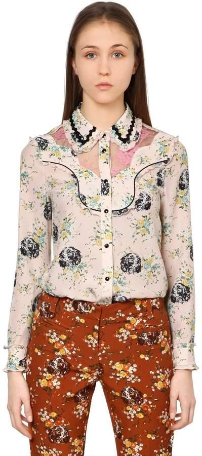 Coach Printed Crepe De Chine & Lace Shirt