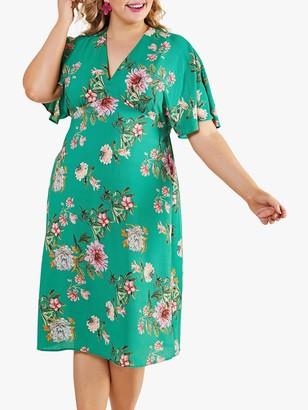 Yumi Curves Peony Floral Midi Dress, Green