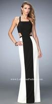 La Femme Colorblock Cutout Prom Dress